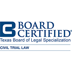 Board Certified - Civil Trial	Texas Board of Legal Specializatio